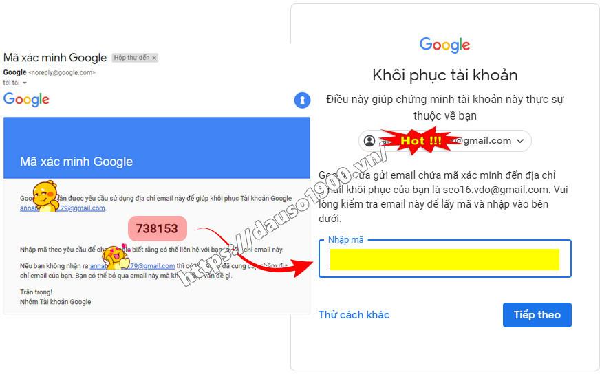 Cách lấy lại mật khẩu gmail không cần số điện thoại
